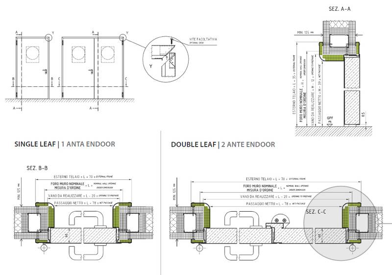 Drawings Sections Details Metallic Fire Rated Doors